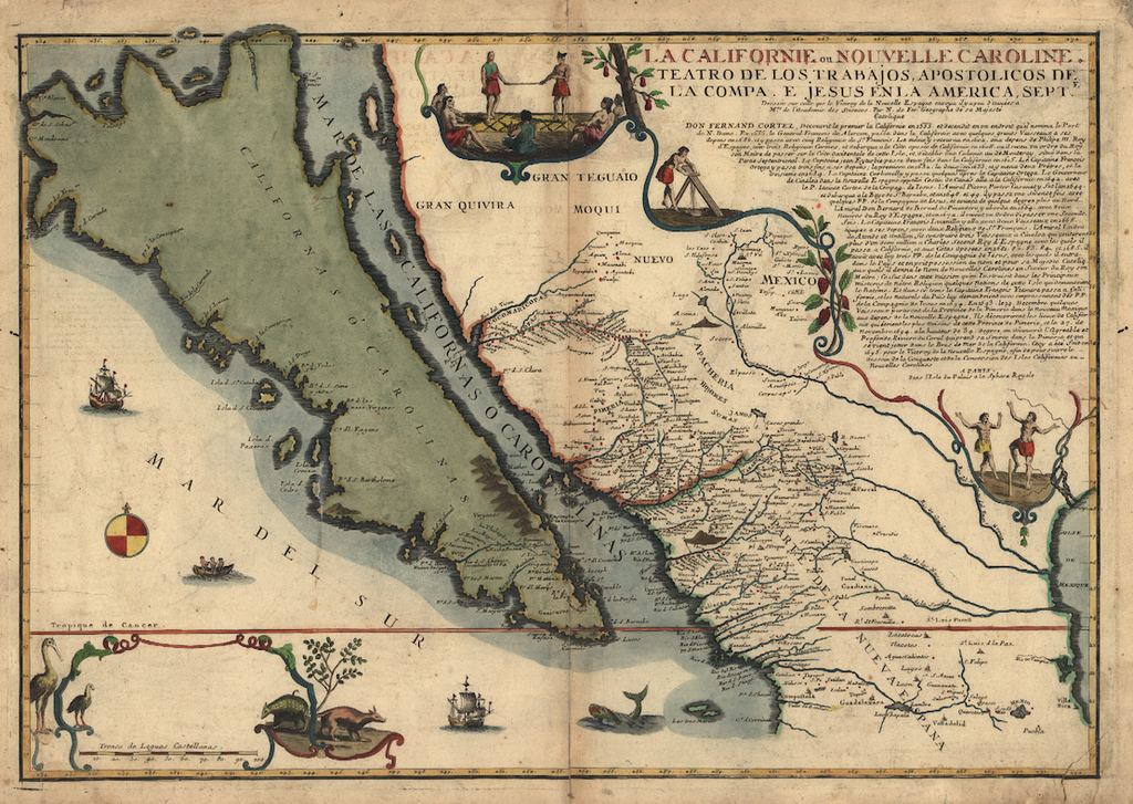 Old Map of California and Mexico lettering poster