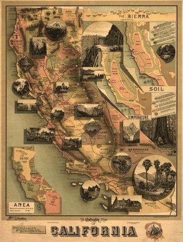 The Unique map of California lettering poster