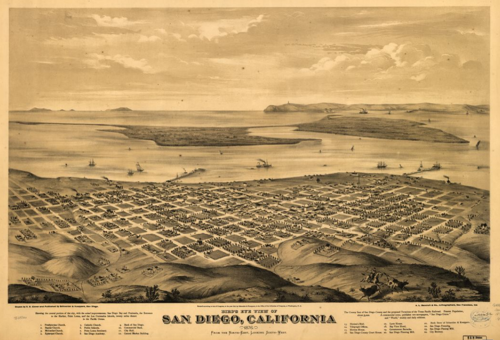 Bird's eye view map of San Diego California typography poster