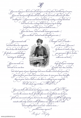 IF poem by Rudyard Kipling Spencerian poster RJ4