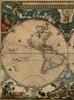 Antique typographic world map by Joan Blaeu