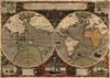 Antique typographic world map by Hondius