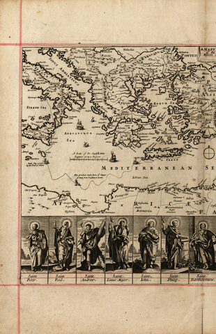 Antique typographic world map of Apostles by Richard Blome