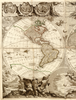 Antique typographic world map of Earth by Jean Baptiste Nolin / Nicolas François Bocquet