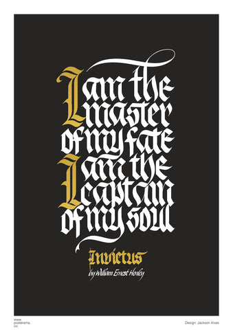 I am the master of my fate calligraphy poster 1