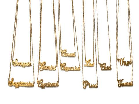 Cursive Zodiac Necklace