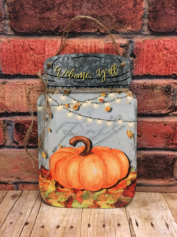 Fall Mason Jar Door Hanger