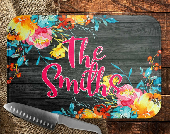 Bright Floral Cutting Board