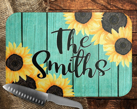 Teal and Sunflowers Cutting Board