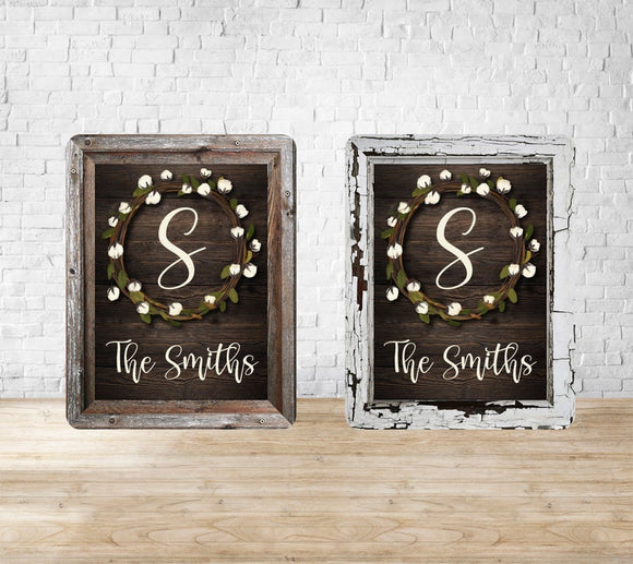 Cotton Wreath and Wooden Frame 8x10