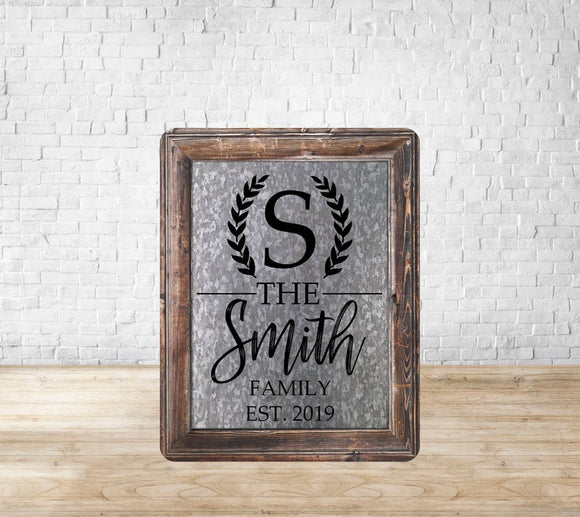 Galvanized Wood Frame Family Name Sign