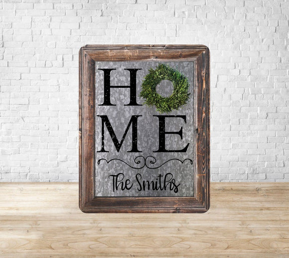 Galvanized Wood Frame Boxwood Wreath Home