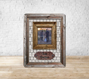 Rustic Wooden Chicken Wire Picture Frame