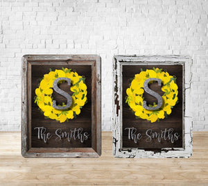 Lemon Wreath and Wooden Frame 8x10