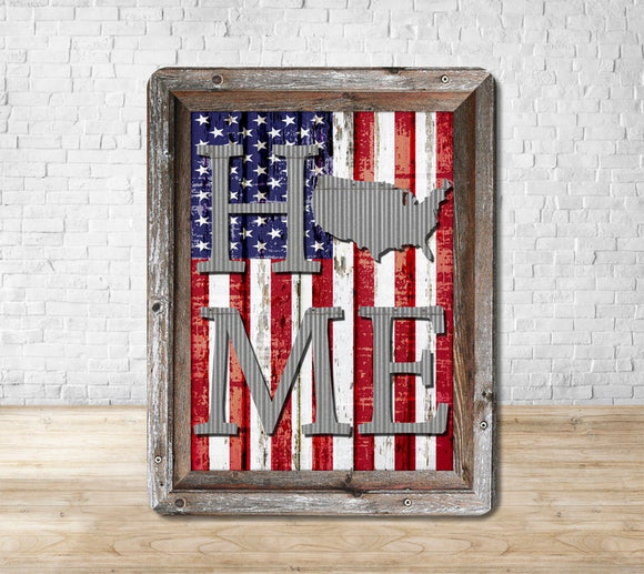 Wooden Framed HOME American Flag