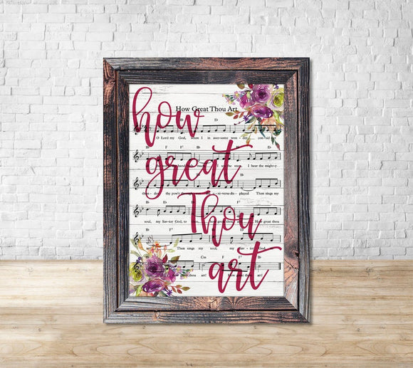 Wooden Framed How Great Thou Art Floral Hymnal