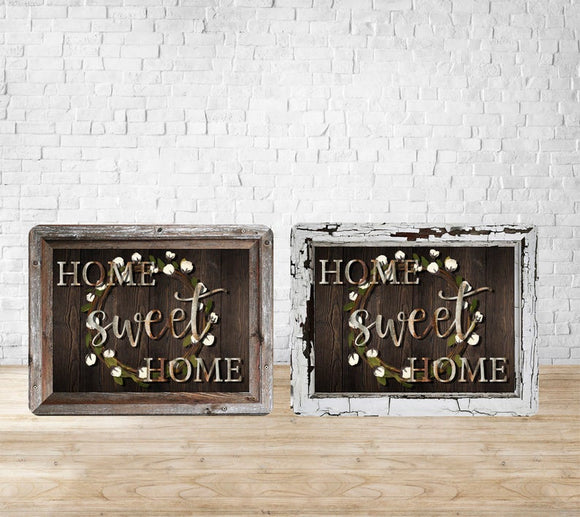 Cotton Wreath and Wooden Frame Metal Home Sweet Home 8x10
