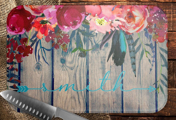 Watercolor Flower Cutting Board