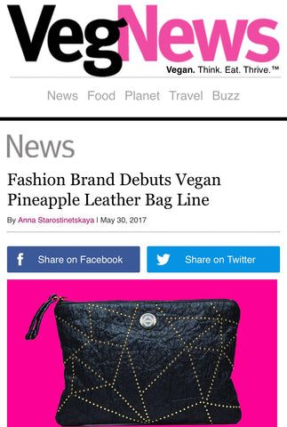 Vegan News featuring TAIKKA pineapple leather clucth bag