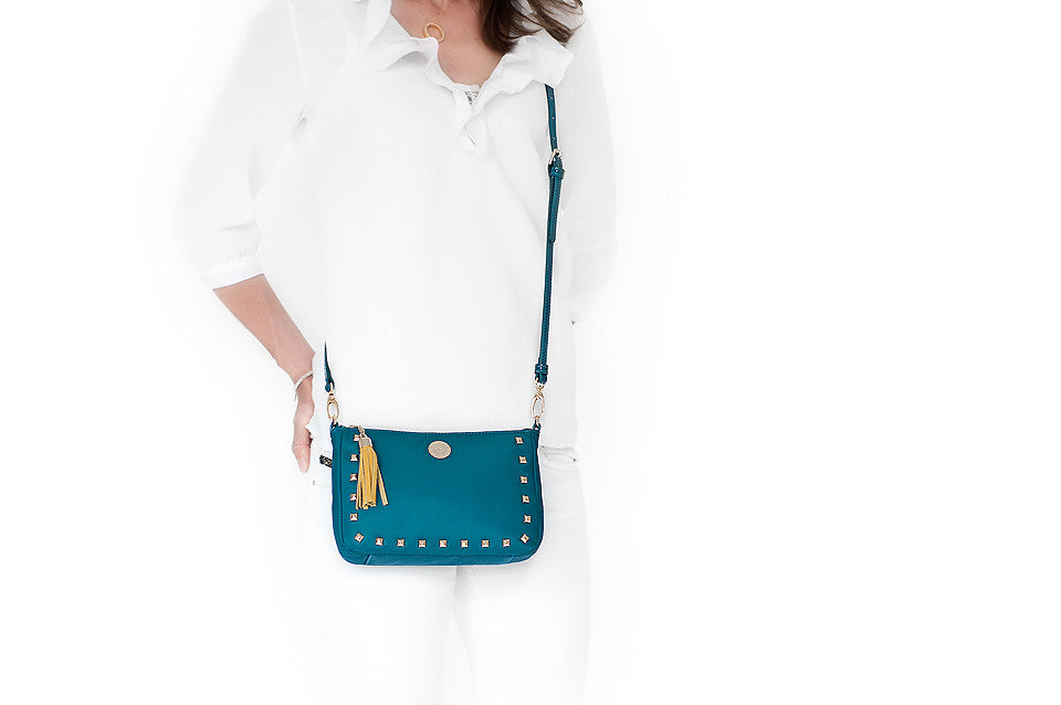 Pyramid Stud (Jade) crossbody bag