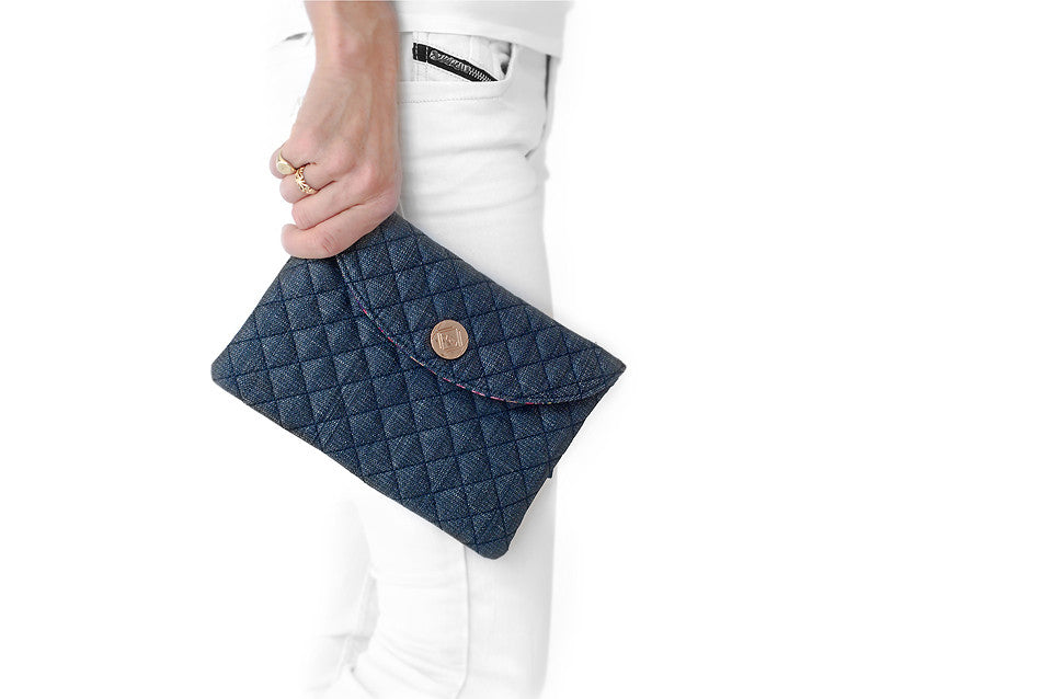 Denim Diamond Clutch