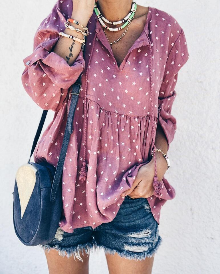 V Neck Twinkle Star Women Casual Printed Shirt &Tops