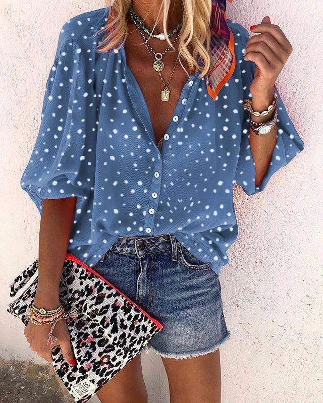 A Lapel Printed Regular Polka Dot Long Sleeve Blouses