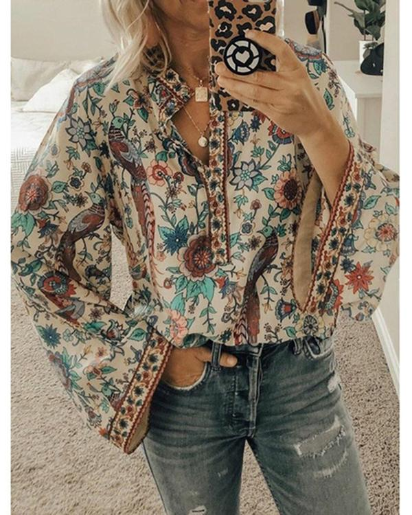 Long Sleeve Floral Cotton-Blend Floral-Print Shirts Tops