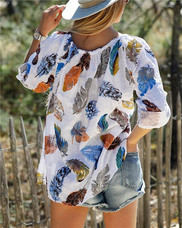 V Neck Feather Printed Casual Holiday Summer Women Daily Tops