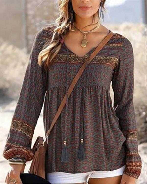 Bohemian Holiday Fall New Casual Lady Daily Shift Tops