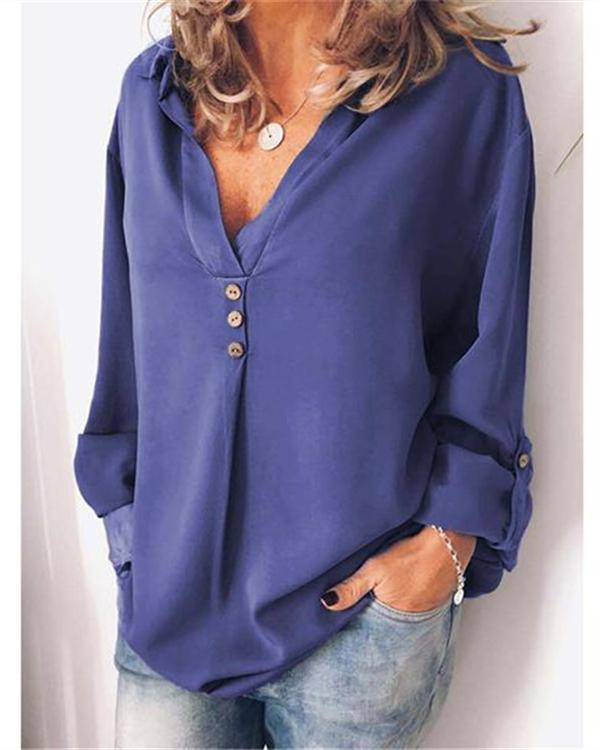 Casual V-Neck Plus Size Solid Women's Blouses