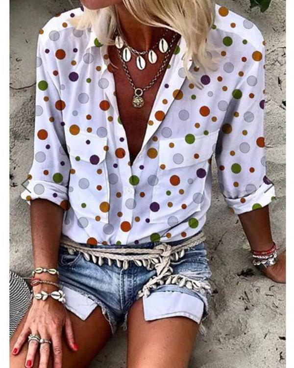 Printed Polka Dot Women V-neck Long Sleeve Double Pocket Blouses