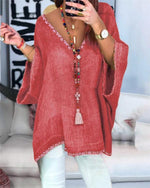 Plus Size Linen Women Loose New Casual Lady Daily Shift Tops