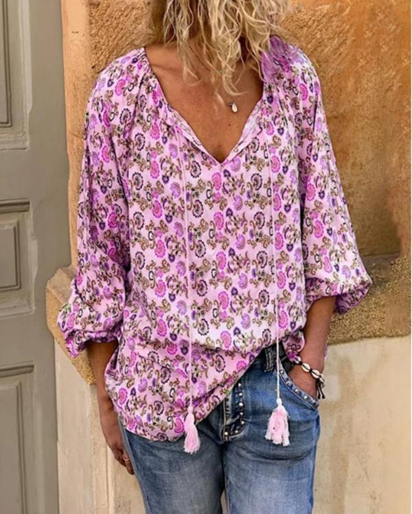 Bohemian Long Sleeve Casual V Neck Printed Daily Shift Tops