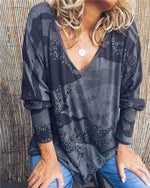 Camouflage V Neck Longs Loose Casual Holiday Daily Blouse