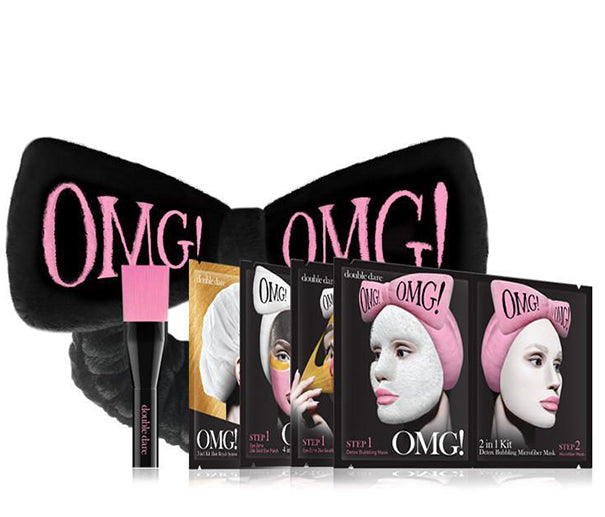 OMG! Premium Package Set (4 Masks With Black Hair Band & a Brush)
