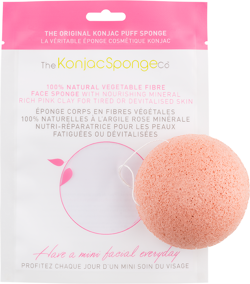 Konjac French Pink Clay Face Puff Sponge