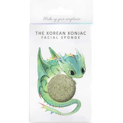 Konjac Mythical Dragon Face Sponge-French Green Clay