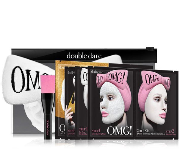 OMG! Premium Package Set (4 Masks With White Hair Band & a Brush)