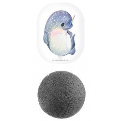 Konjac Mythical Narwhal Face Sponge-Bamboo Charcoal