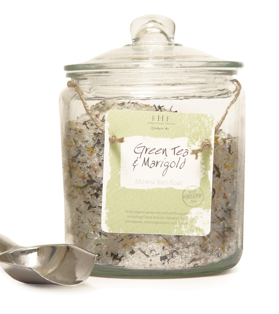 FHF Mineral Bath Soak (Green Tea-Marigold) Glass Jar
