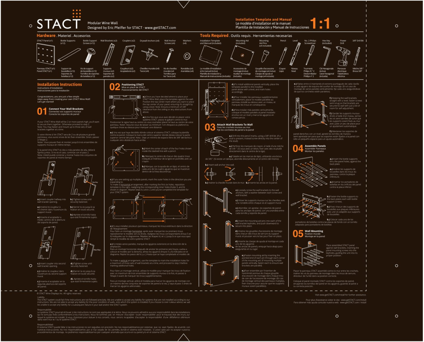 STACT Wine Racks installation template and manual