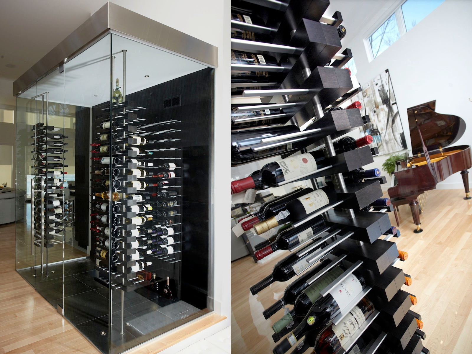 luxury wine cellar with floor-to-ceiling mounted floating wine racks