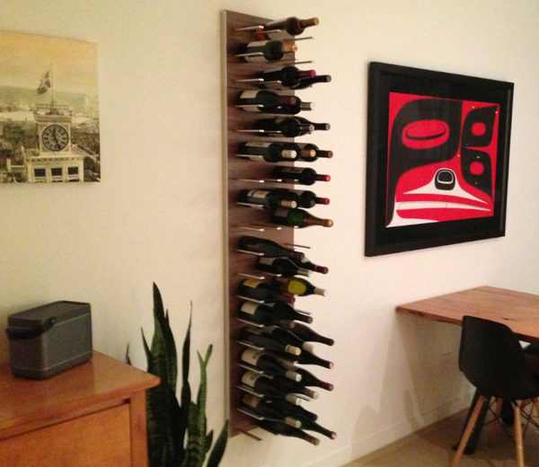 wine racks used as a wall divider