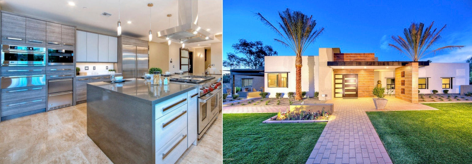 luxury custom home with gourmet kitchen and wine cellar