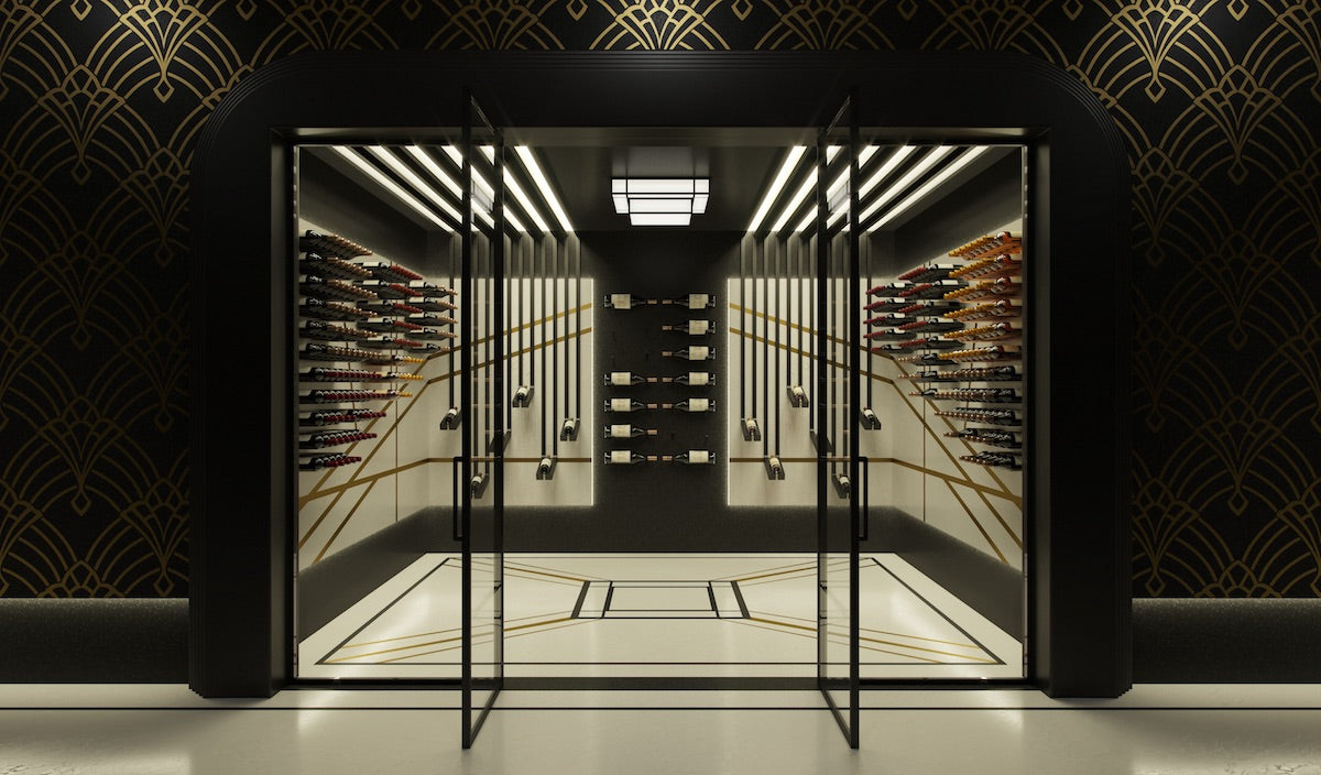 art moderne luxury glass wine room