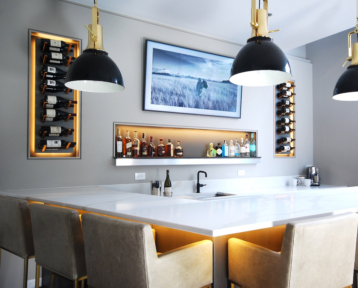 home bar built-in wine display with LED backlighting