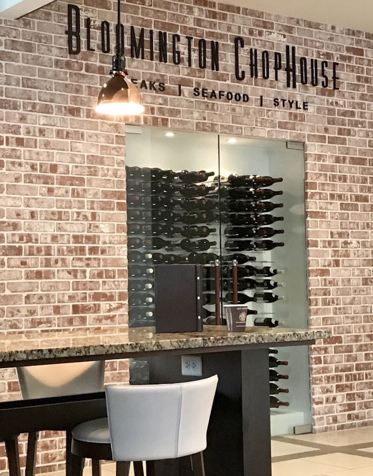 Bloomington chophouse wine cellar