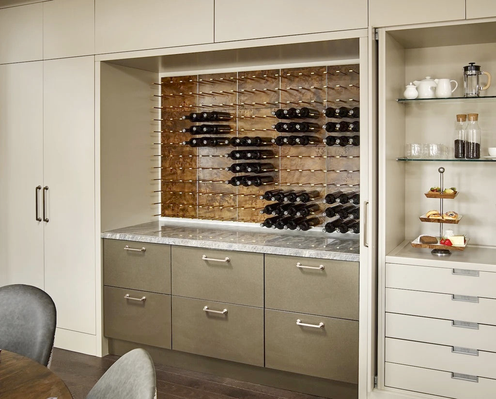 burled wood and gold wine cabinet display nook