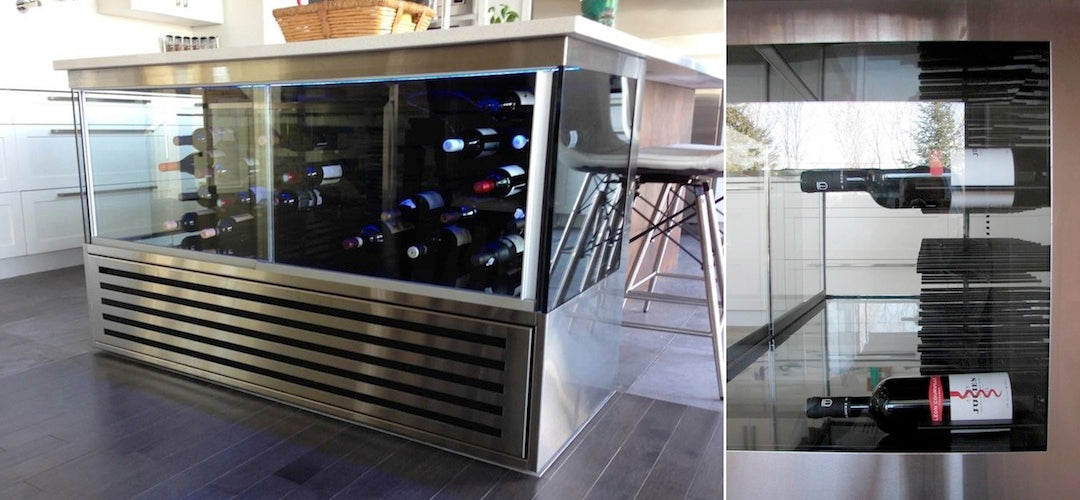 finished wine bar refrigerated STACT wine rack panels